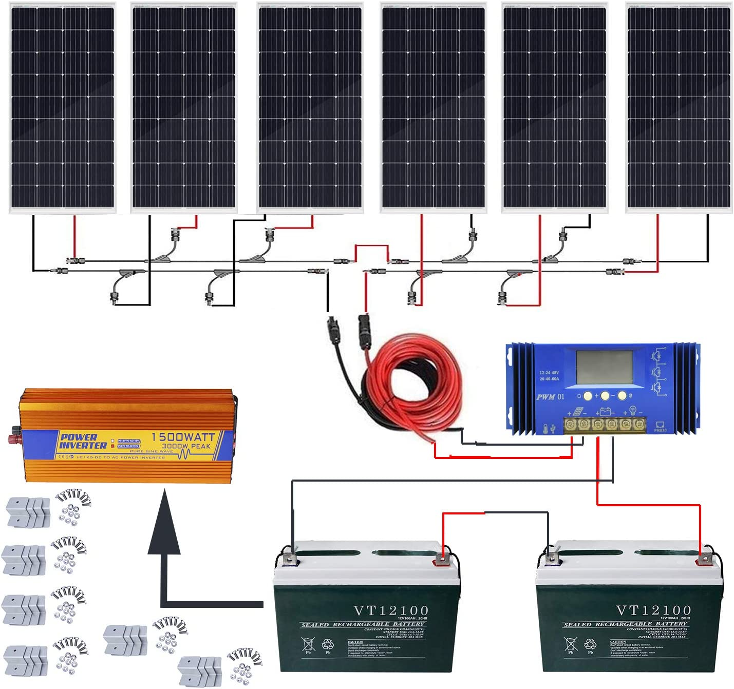 ECO-WORTHY 720W Solar Power System Off Grid 6pcs 120W Mono Solar Panel 60A Charge Controller 200Ah 12V Sealed Lead-Acid Battery 1500W Pure Sine Wave Inverter Solar Cable Z Mounting Brackets
