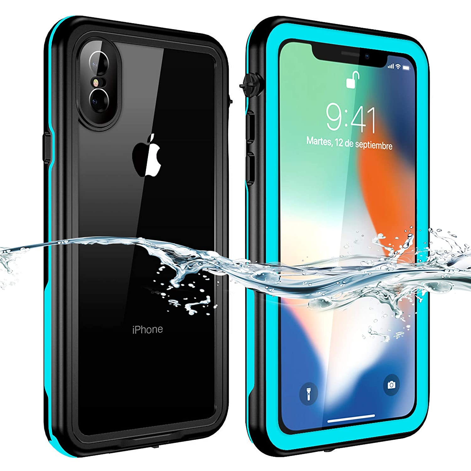 detailed pictures 98ac5 42196 iPhone XS / iPhone X Waterproof Case, NINECRE iPhone XS / iPhone X Case  IP68 Water Proof Heavy Duty Protection Sound Amplification Ultra Slim  Rugged ...