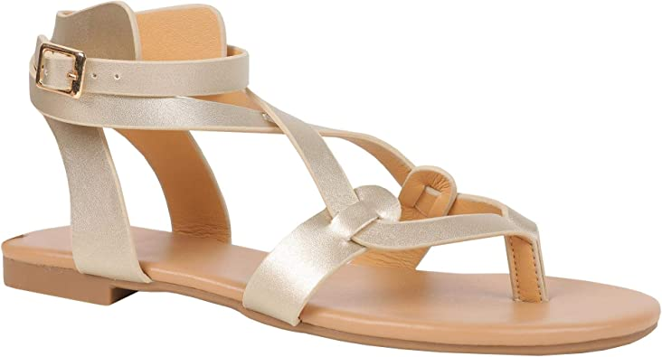 FISACE Womens Thong Gladiator Cross Toe Flat Wedge Sandals Double Buckle Strap Summer Beach Sandal Shoes