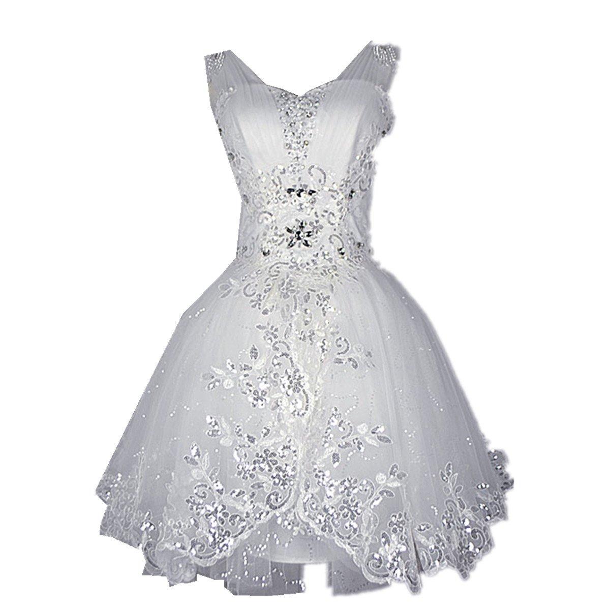 Zorabridal Women's Sweetheart Shiny Crystal Short Wedding Dress (14, White)