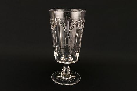 Vaso de corte alto apio cuenco cónico cristal antiguo Edwardian Inglés Early 1900s