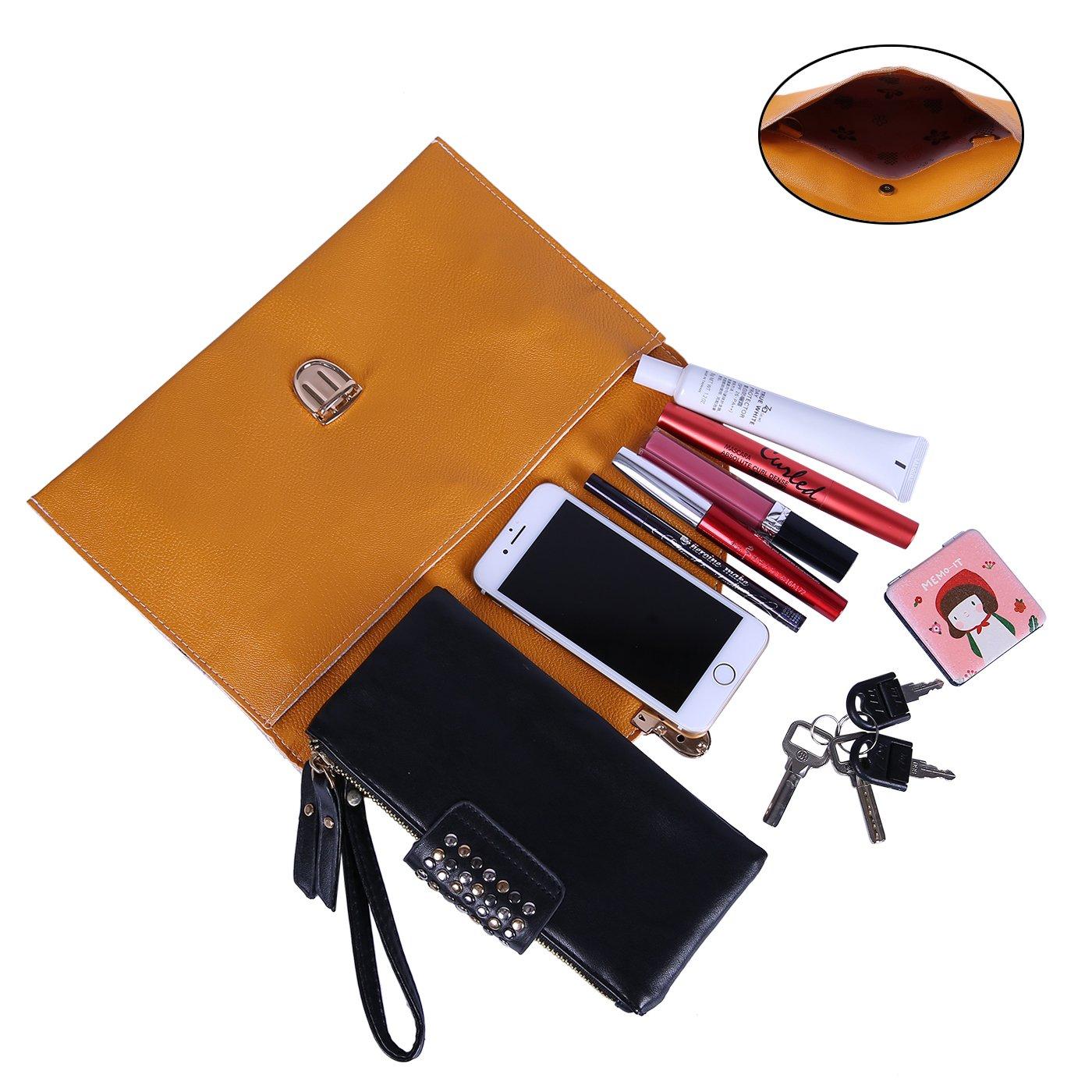 HDE Women's Fashion Cross Body Gold Buckle Purse Vegan Leather Envelope Handbag by HDE (Image #5)