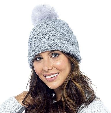 3fd1229e38f Foxbury Diagonal Knit Hat with Faux Fur Bobble Grey  Amazon.co.uk  Clothing