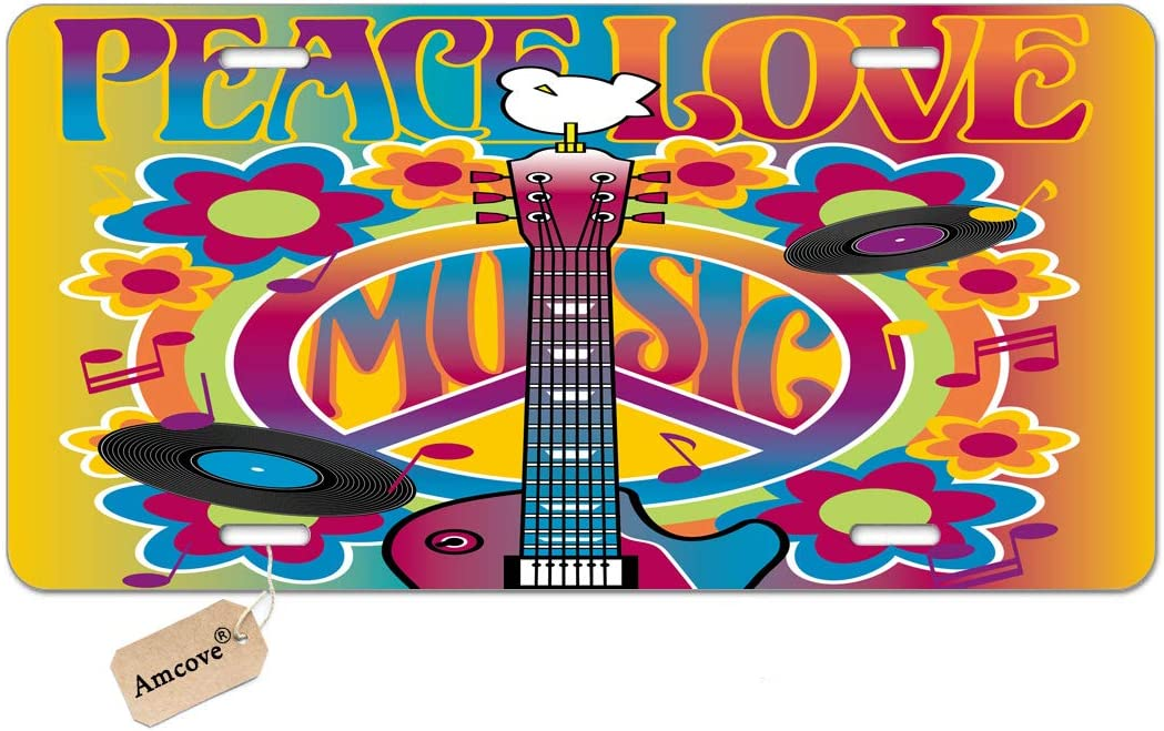 Amcove Peace Love Music of a Guitar License Plates Peace Symbol and Dove Decorative Car Front License Plate,Vanity Tag,Metal Car Plate,Aluminum Novelty License Plate,6 X 12 Inch
