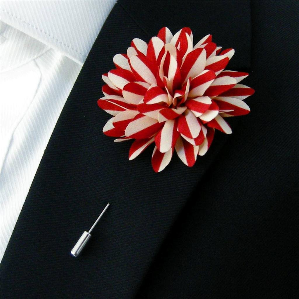 Amazon Silk Blend Lapel Flowers Boutonniere Mens Stick Pin