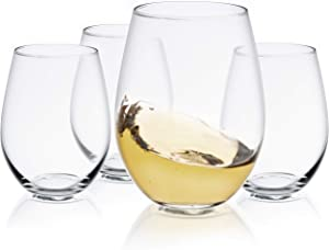 JoyJolt Spirits Stemless Wine Glasses for Red or White Wine (Set of 4)-19-Ounces