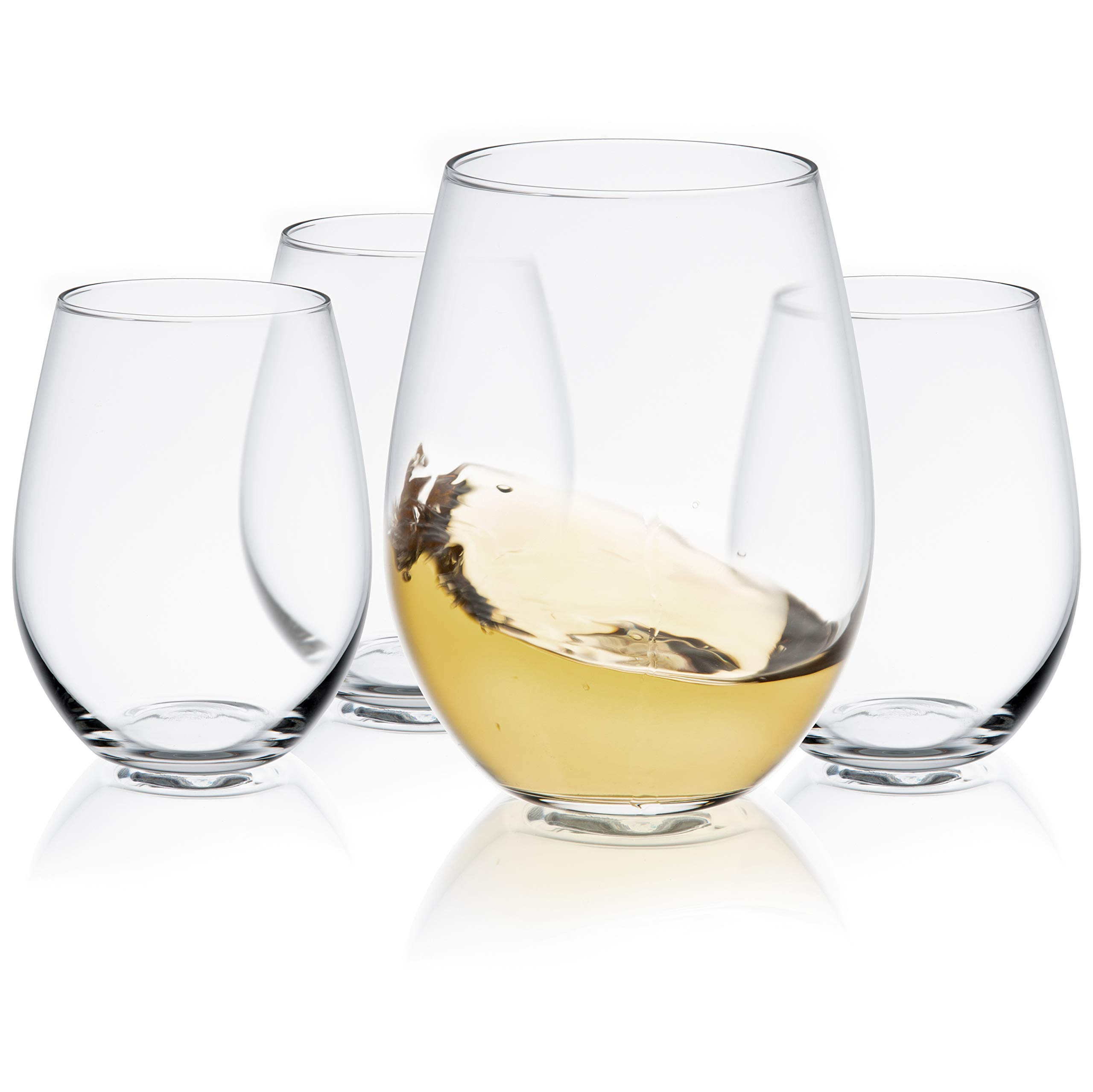 JoyJolt Spirits Stemless Wine Glasses for Red or White Wine (Set of 4)-19-Ounces by JoyJolt
