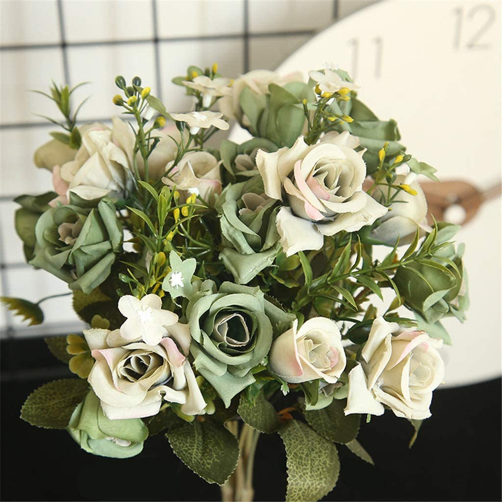 Fheaven Fake Roses for DIY Wedding Bouquets Centerpieces Bridal Shower Party Home Decorations Artificial Flowers