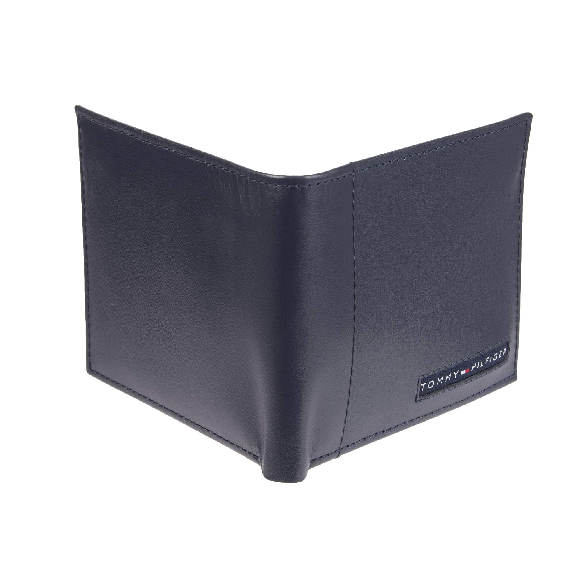 Tommy Hilfiger Men's Leather Wallet - RFID Blocking Slim Thin Bifold with Removable Card Holder and Gift Box, Navy Casual by Tommy Hilfiger (Image #4)