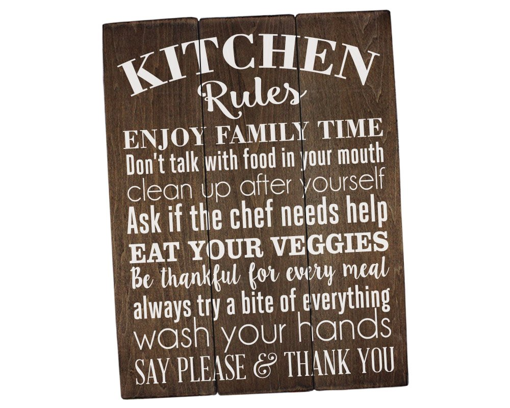 Charmant Amazon.com: Sincerely Sunshine Kitchen Rules Sign Kitchen Wall Decor Rustic  Kitchen Sign Farmhouse Decor Kitchen Wall Art: Home U0026 Kitchen