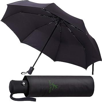 Paraguas Plegable Automático - Paraguas negro Compacto, Resistencia Contra Viento - Paraguas Impermeable para Viaje