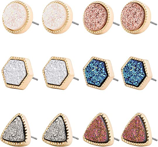 12 Pairs Women Assorted Bling Druzy Stone Resin Crystals Round Stud Earrings Set