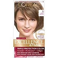 L'Oreal Paris Excellence Creme Permanent Hair Color, 6 Light Brown, 100% Gray Coverage...