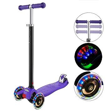 Hikole Patinete Infantil 3 Ruedas, Niños de Altura Ajustable Scooter para Niños y Niñas 3-12, luz LED Intermitente Ruedas de PU (Almacén Europeo)