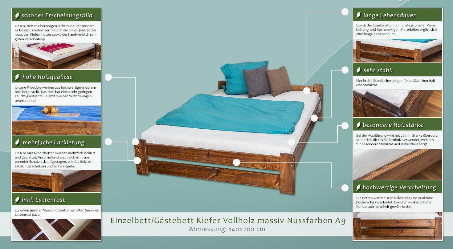 inkl Futonbett // Massivholzbett Kiefer Vollholz massiv Nussfarben A9 Abmessung 140 x 200 cm Lattenrost