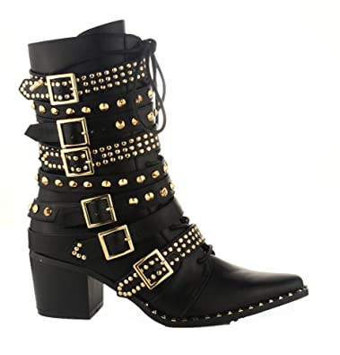 127ae7230ff Michelle Parker Cape Robbin Rockstud Black Gold Western Pointy Toe  Embelished Moto Leather Boot (6