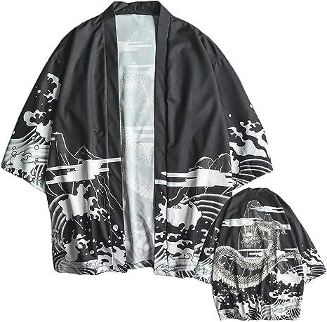 Wawer - Cardigan Kimono para Hombre, Camisa Ancha, Camisa para Hombre, Camisa de Manga Larga, Camisa para Hombre, Hombre, Negro, Large: Amazon.es: Deportes y aire libre