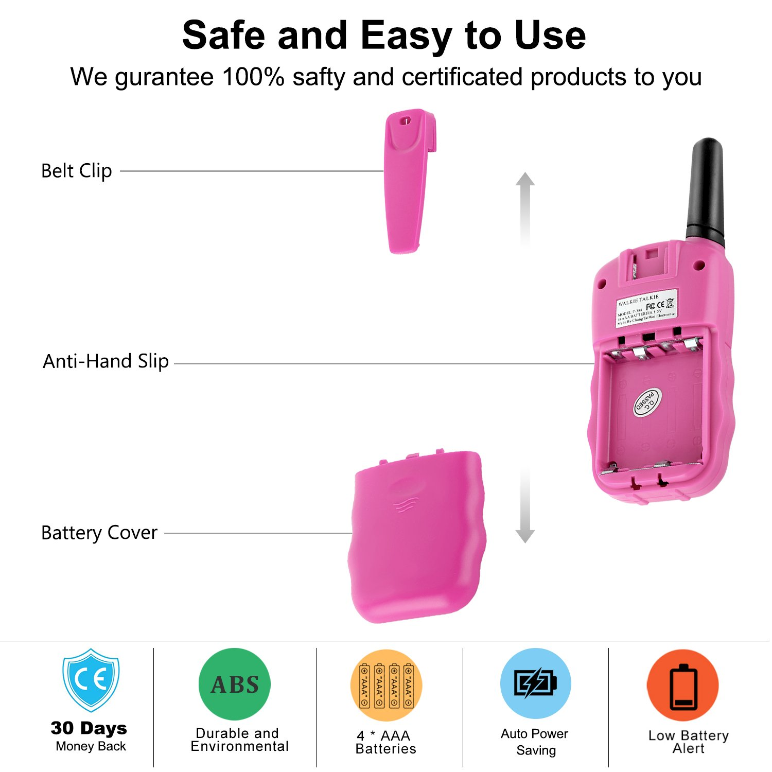 Wishouse Walkie Talkie Kids Toy Set,Best Gifts Easy use Two Way Radios for Girls, 22 Chanels 3 Miles Long Range Cool Vox walky Talky for Camping Hiking Fishing Outdoors(T388 Pink, 2 Pairs) by Wishouse (Image #7)