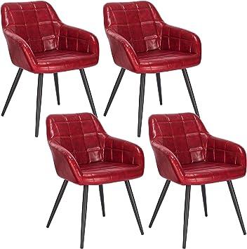 WOLTU 4 x Esszimmerstühle 4er Set Esszimmerstuhl Küchenstuhl Polsterstuhl Design Stuhl mit Armlehne, mit Sitzfläche aus Kunstleder, Gestell aus