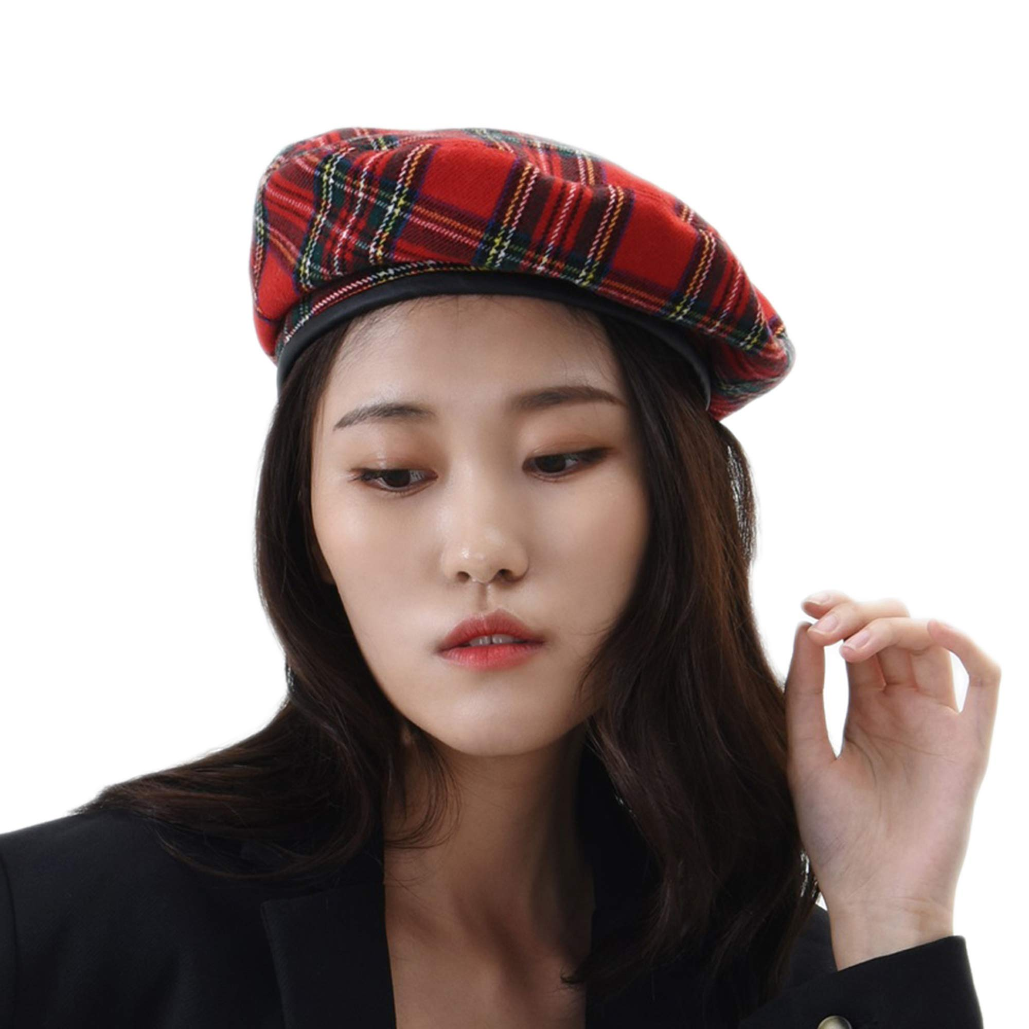 WITHMOONS Wool Beret Hat Tartan Check Leather Sweatband KR9539 (Red)