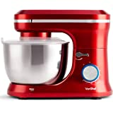 VonShef 1000W Red Food Stand Mixer – 4.5 Litre Mixing Bowl with Splash Guard - Includes Beater, Dough Hook & Whisk
