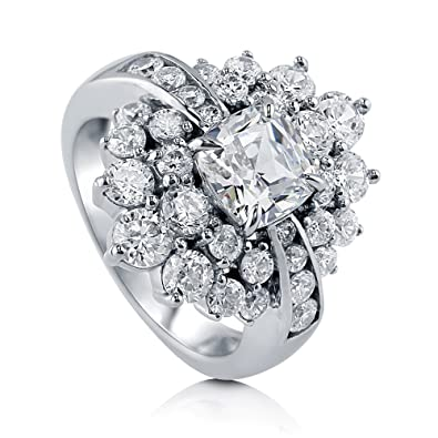 7174cc02f BERRICLE Rhodium Plated Sterling Silver Cubic Zirconia CZ Flower Cocktail  Statement Ring Size 7