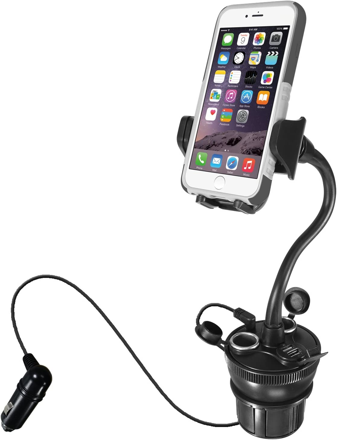 """Macally Car Cup Holder Phone Mount with Two High Powered USB Charging Ports 4.2A 21W, 2 Cigarette Lighter Sockets, & 8"""" Long Neck for iPhone XS XS MAX XR X 8 8+ 7 Plus, Samsung Galaxy, etc (MCUPPOWER)"""