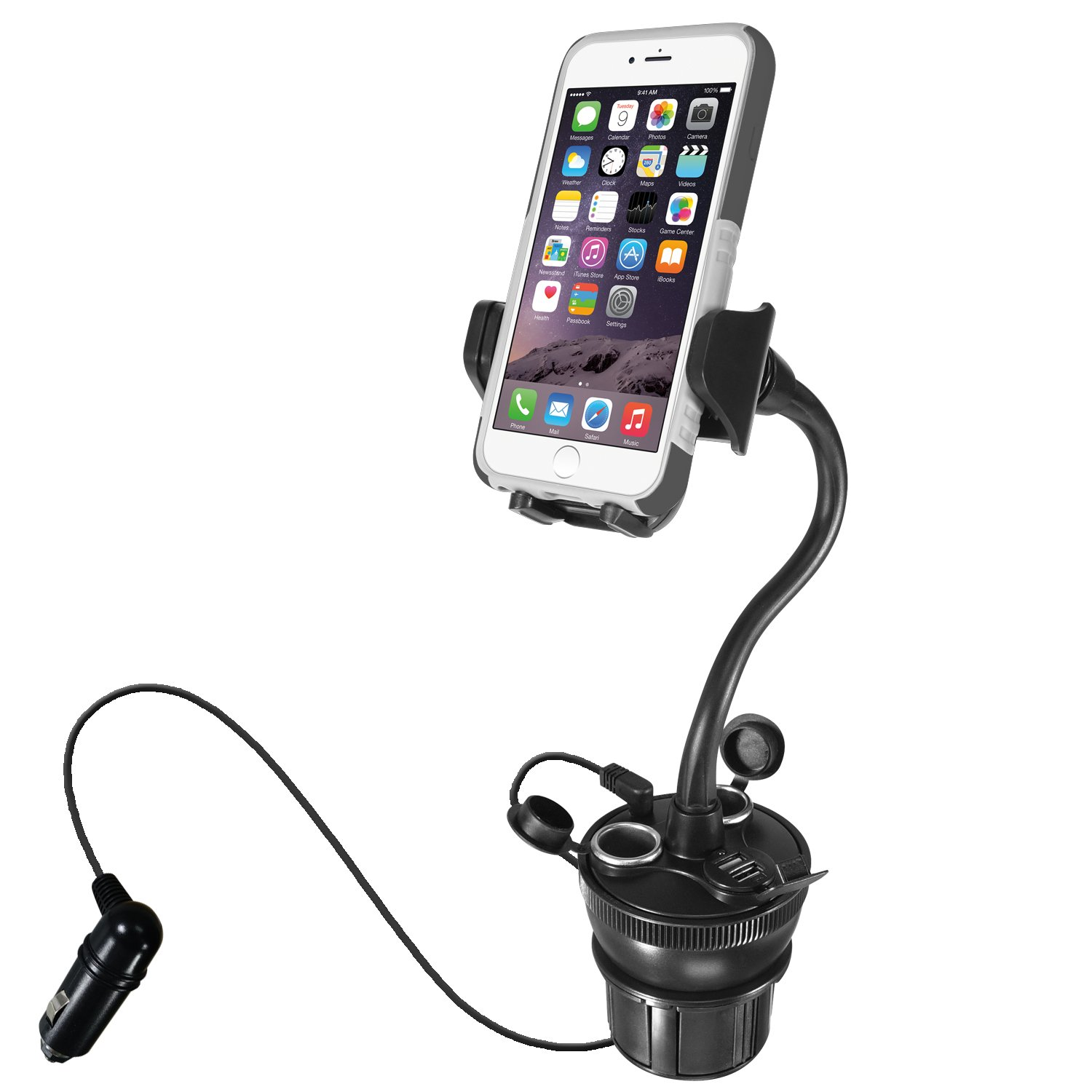 Macally Car Cup Holder Phone Mount with Two High Powered USB Charging Ports 4.2A 21W, 2 Cigarette Lighter Sockets, & 8'' Long Neck for iPhone X 8 8+ 7 Plus, Samsung Galaxy, etc. (MCUPPOWER)