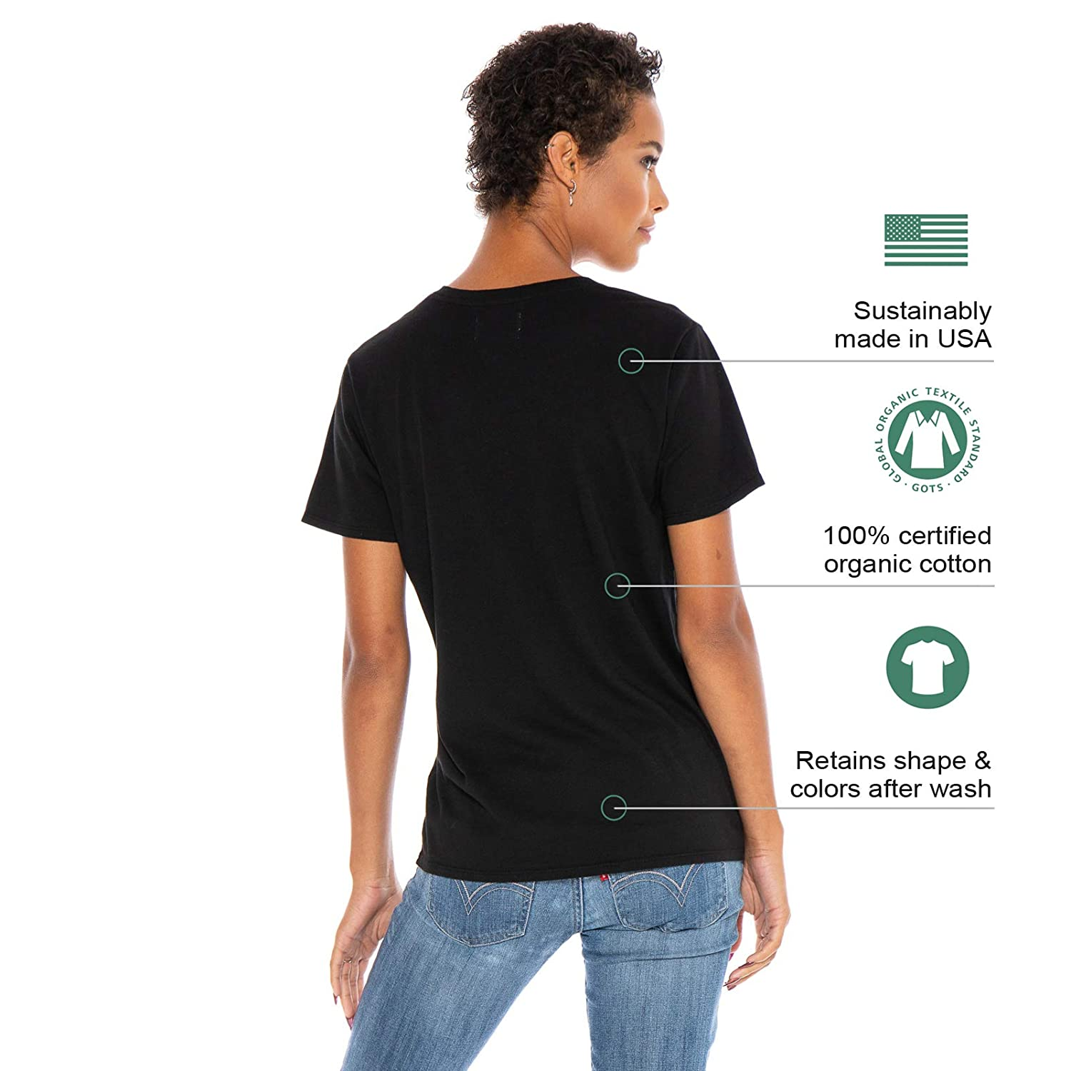 3964cac4c4f1e3 Women's Designer T-Shirt Lightweight Boy Fit Short Sleeve Crew Neck Organic  Cotton Pre-Shrunk Embroidered - Made in USA at Amazon Women's Clothing  store: