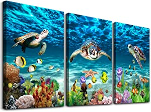 "Canvas Wall Art for Living Room family Wall decor for Bedroom Bathroom Wall Decoration blue Ocean Sea Turtle Canvas Art Modern shark Pictures Artwork Paintings office Ready to Hang 12"" x 16"" 3 Pieces"