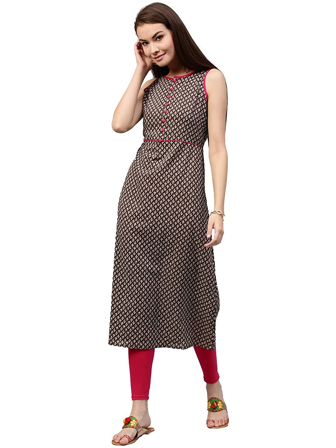 Jaipur Kurti Women s Cotton A line Long Kurta with Front placket (Brown)   Amazon.in  Clothing   Accessories b0507f4d8