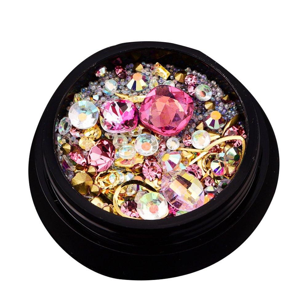 Trifycore Sinfonía diamantes de imitación joyas de uñas de diamantes de imitación de acrílico UV gel decorativo natural y joyería de uñas (rosa)