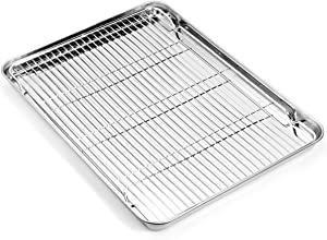 Zacfton Baking sheets Rack Set, Cookie pan Nonstick Cooling Rack & Cookie sheets Rectangle Size 16 x 12 x 1inch,Stainless Steel & Non Toxic & Healthy,Superior Mirror Finish & Easy Clean