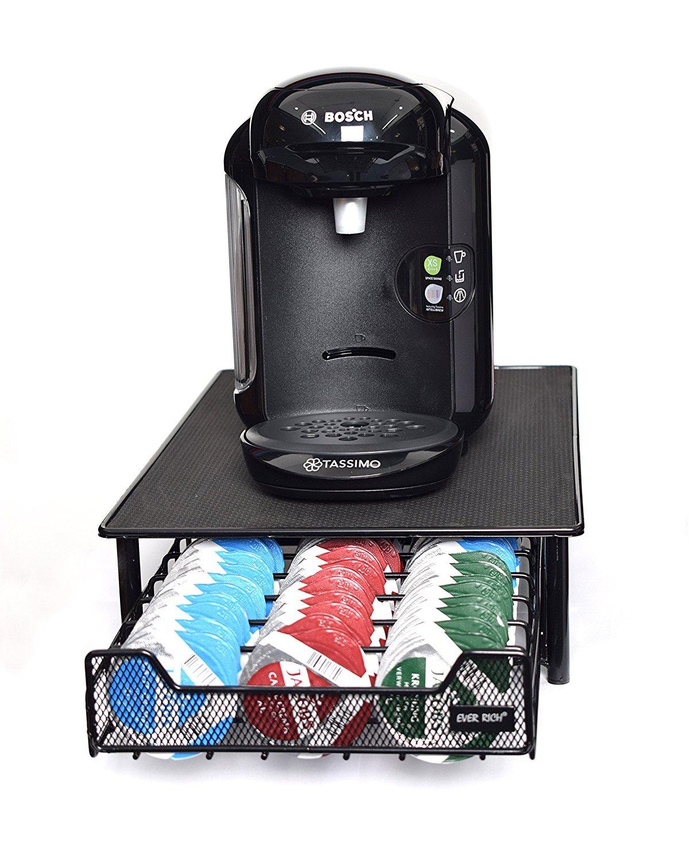 60 Drawer Black T-Disc Caf/é C/ápsulas Ever Rich /® Tassimo Pod Holder 60//64 Piezas Dise/ño antivibraci/ón Metal//Negro//Plata Bosch Tassimo Stand /& Pod Storage Drawer