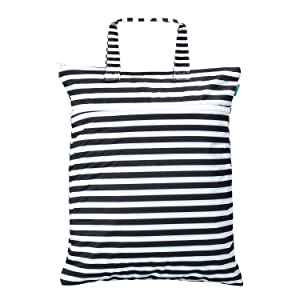 Teamoy Travel Hanging Wet Dry Bag Organizer (17.3 x 13.4 inches) with Two Compartments for Cloth Diaper, Laundry, Swimsuits and More, Easy to Hang Everywhere (M, Black Strips)