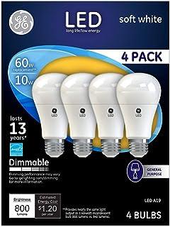 60-watt replacement 800-Lumen A19 Bulb with Medium Base Soft White GE Lighting 25037 LED 11-Watt 2-Pack
