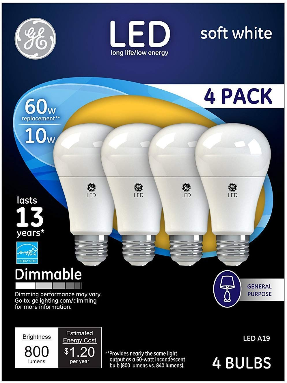 GE Lighting 67615 Dimmable LED A19 Light Bulb with Medium Base, 10-Watt, Soft White, 16-Pack