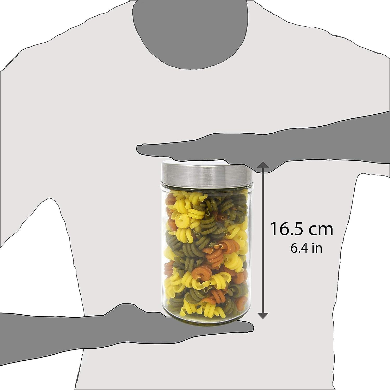 0,85 L. con Tappo a Vite in Acciaio Inox. 16,5x10 cm Pack 2 Barattoli di Vetro