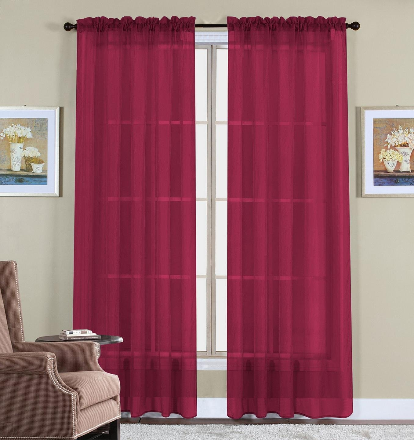 Hot pink curtains - Amazon Com 2 Piece Set 63 Long Solid Sheer Curtains Panels Window Drape Sage Green Home Kitchen