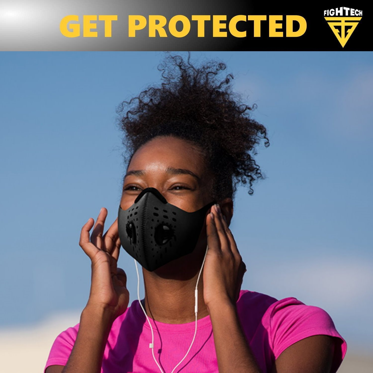 Anti-Pollution Dustproof/Dust Mask with 2 Valves and 4 Activated Carbon N99 Filters. Filtration of Exhaust Gas, Pollen Allergy and PM2.5. Cycling Face Mask for Outdoor Activities by FIGHTECH (BLK) by FIGHTECH (Image #8)