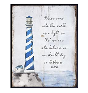 Religious Scripture Wall Decor - Nautical Beach House, Ocean Home Decoration - Bible Verse Wall Art - Gift for Christians-8x10 Poster for Bathroom, Living Room, Bedroom - Blue Boho Lighthouse