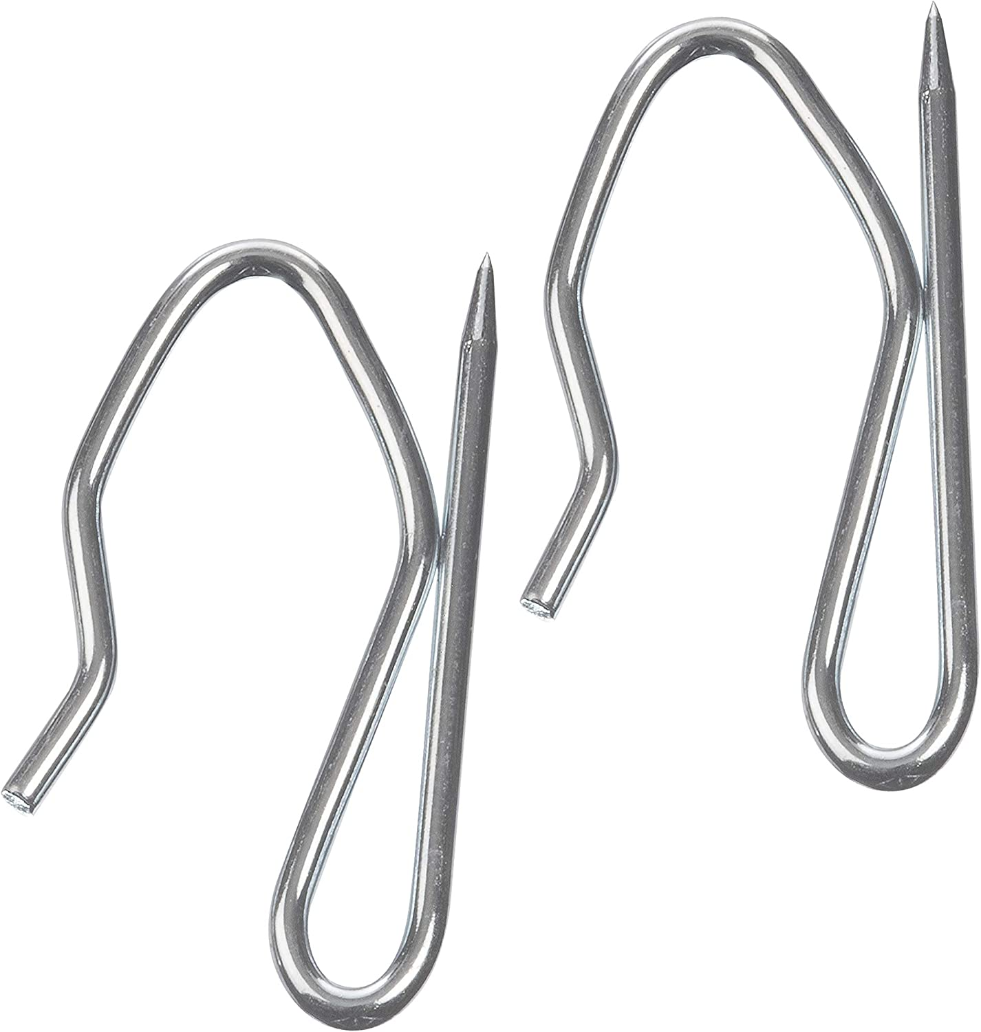 The Bead Shop Heavy Duty Zinc Metal Drapery Pin Hooks (50 Pack) for Pencil Pleat Curtains Pin Hook 34x19mm