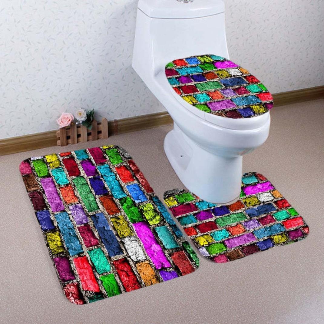 QHJ Non Slip 3 Piece Bathroom Mat Sets , Pedestal Rug + Lid Toilet Cover + Bath Mat Set (A)