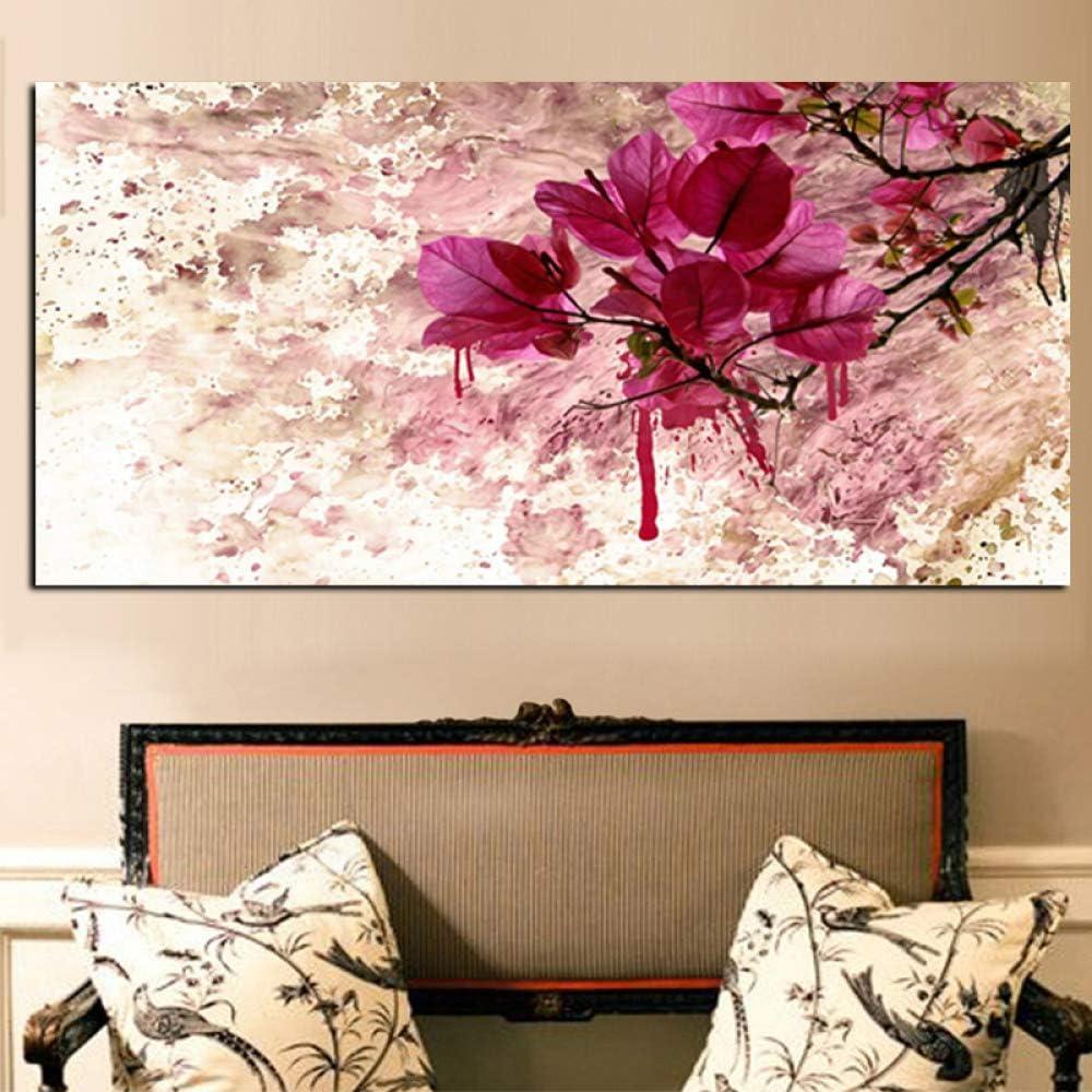 SQSHBBC Modern Abstract Red Flower Carteles e Impresiones Paisaje Pintura al óleo sobre Lienzo Cuadros Imágenes en la Pared Arte para Sala de Estar A 40 x 80 cm Sin Marco