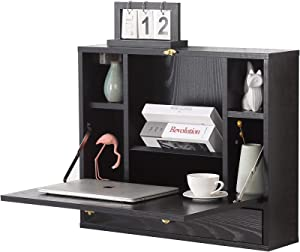 Wall Mounted Table, Folding Laptop Desk Wall-Mount Writing Desk with Storage Shelves & Drawer, Wall Mounted Desk for Home, Office, Small Spaces(Black)