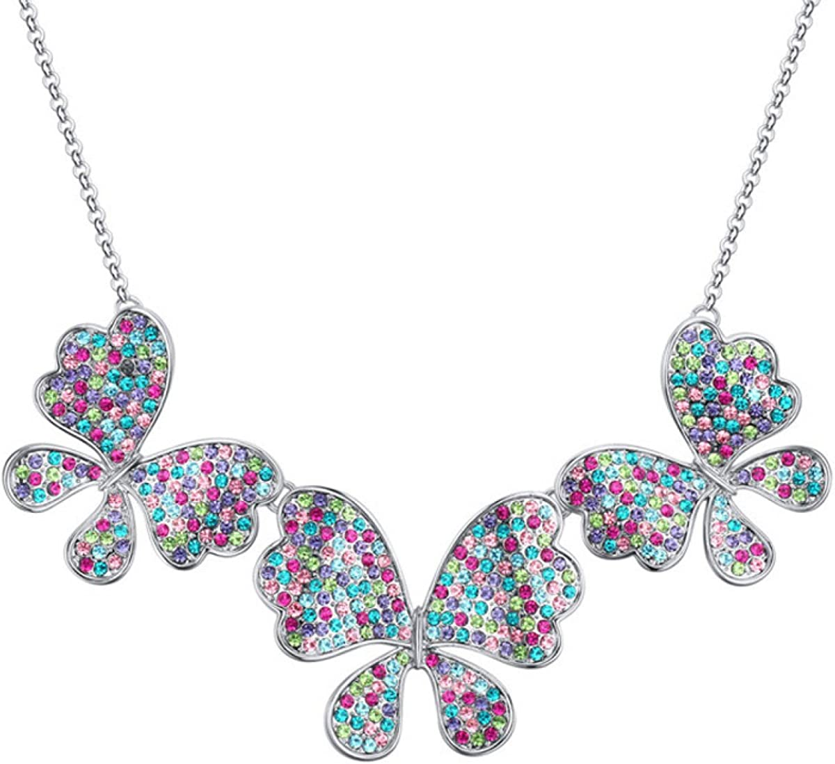 Women 925 Sterling Silver Necklace Alloy Plating Butterfly Crystal Geometry Ornament