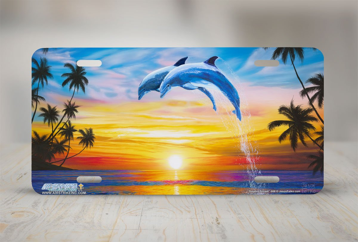Airstrike Dolphins License Plate Front Decorative License Plate Dolphin Sunset Jumping Made in USA -668 Made of Metal