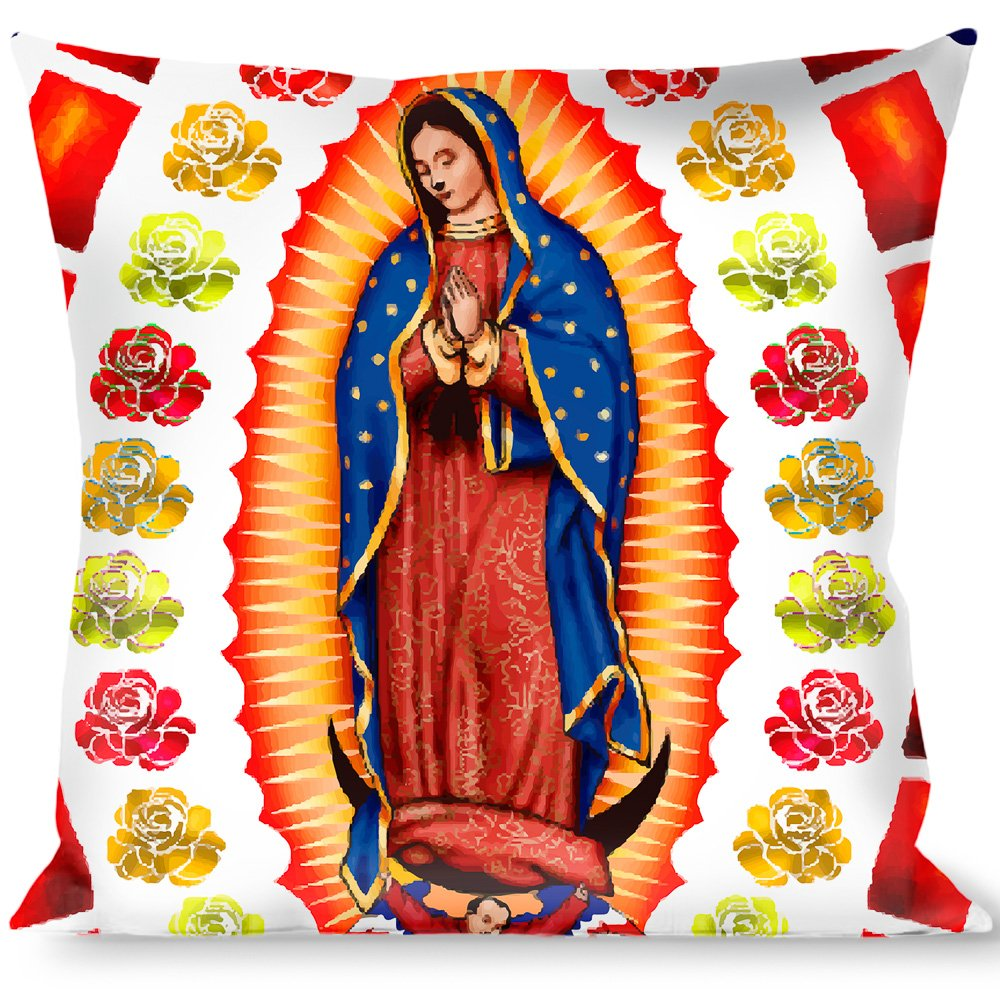 Buckle-Down Throw Pillow, Virgen De Guadalupe