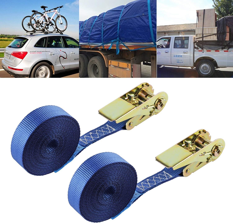 everfarel 10X Sangles darrimage spanngurt avec Sangle /à cliquet Sangles /à cliquet 6 m Camion 400//800 kg,Bleu