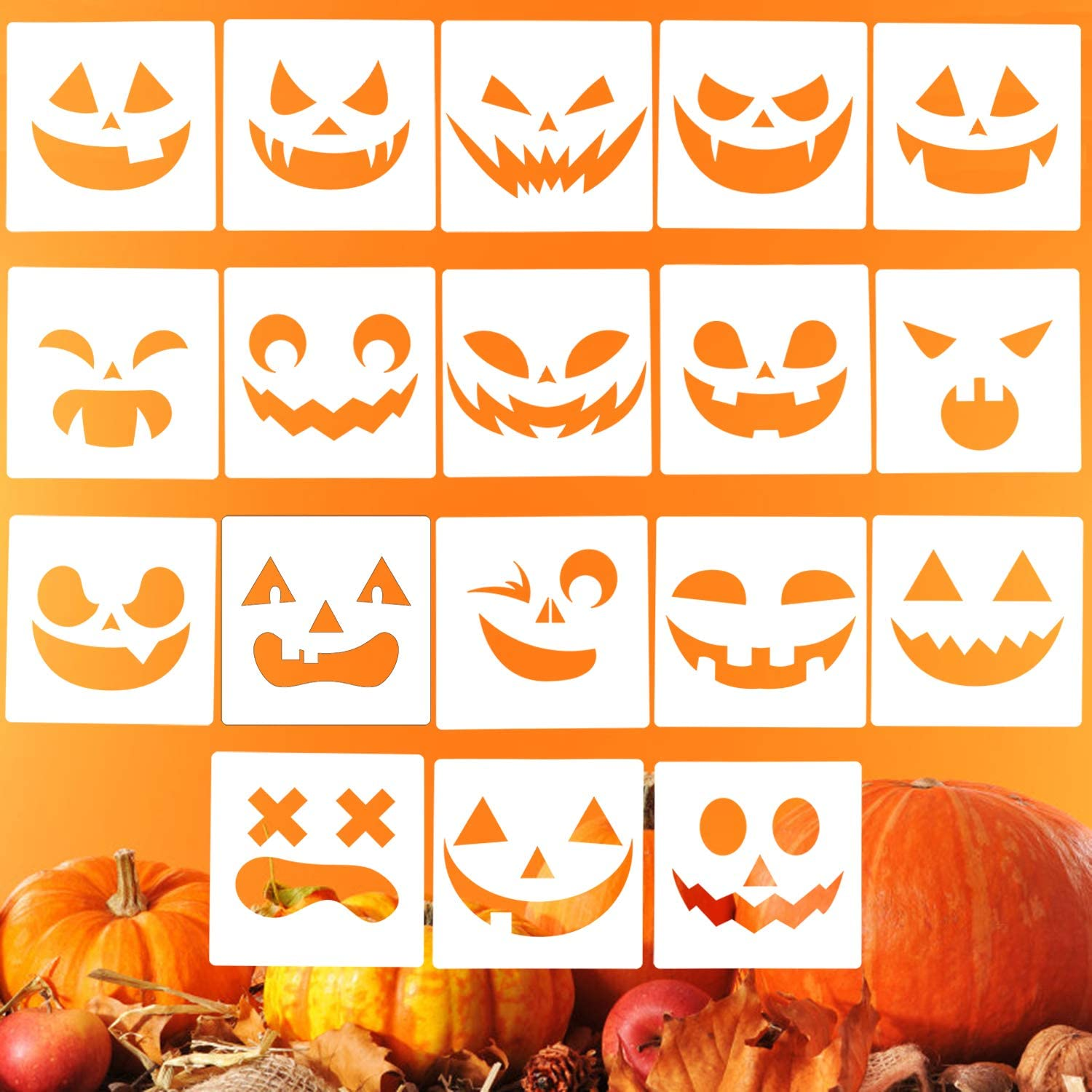 LOCOLO 18 Pieces Halloween Stencils Halloween Pumpkin Smiley Face Drawing Templates 5.3 x 5.3 Inches